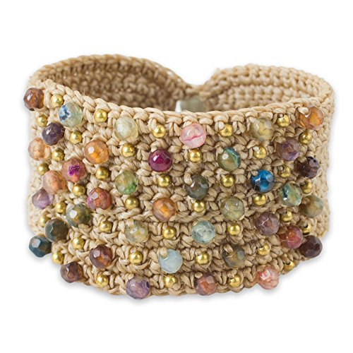NOVICA Hand Crocheted Wristband Cuff Bracelet with Chalcedony and Labradorite, Life in Pai