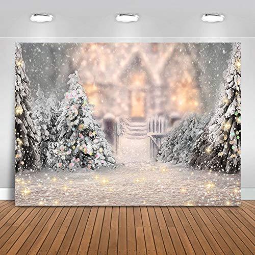 Avezano telón de fondo navideño de invierno para fotografía, pinos, copo de nieve, retrato de fondo blanco, recién nacido, primer cumpleaños, para fiestas de bebé, decoración de fotos y accesorios