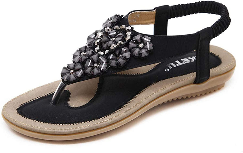 SRF6 Flat Sandals Bohemian Flowers Rhinestones Student Pinch Flat shoes Women(,0,0)