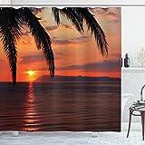 ABAKUHAUS Exotisch Duschvorhang, Sonnenaufgang auf Meer & Palmen, Wasser Blickdicht inkl.12 Ringe Langhaltig Bakterie & Schimmel Resistent, 175 x 180 cm, Orange Gelb