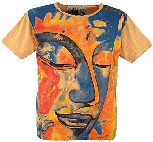 Guru-Shop Mirror T-Shirt, Herren, Buddha/Orange, Baumwolle, Size:XXL, Bedrucktes Shirt Alternative Bekleidung