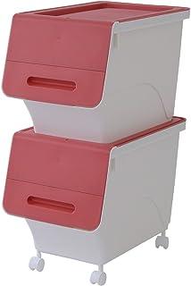 サンカ 【日本製】 収納ボックス ふた付き 2個組 スリム 深型 froq (フロック) キャスター付き 積み重ねOK オープン時ふた固定可能 幅28.5×奥行46×高さ31cm 完成品 サンドピンク FR-S30SPI*2+C