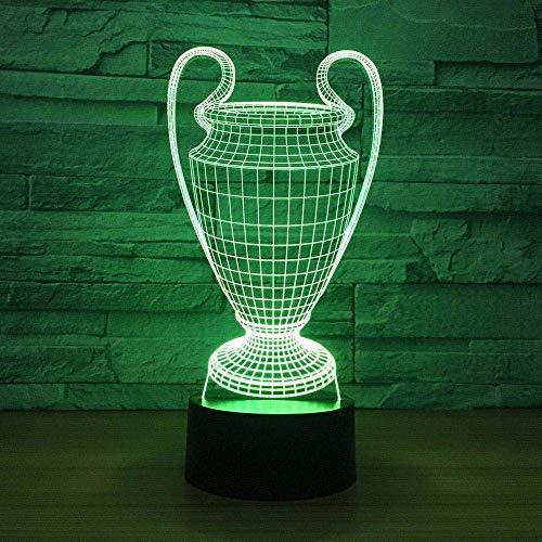 Voetbal Beker Trofee 3D Nachtlampje 7 Kleur Afstandsbediening Licht LED Bureaulamp Kinderen Vrienden Gift Speelgoed Mode Decoratie Kerstmis Beste Gift