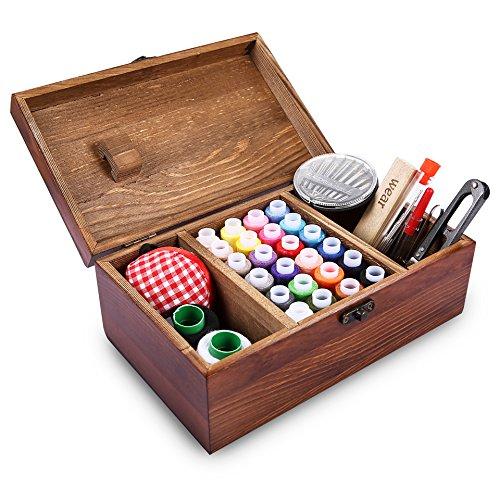 Retrospektive hölzerne Nähen Box einschließlich Nähen Kit Zubehör, Muzee elegante Retro-Stil Woody Nähen Veranstalter Korb