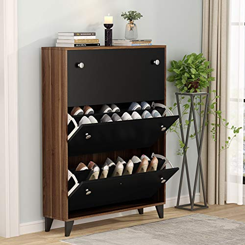Tribesigns Modern 3 Drawer Shoe Cabinet, 3-Tier Shoe Rack Storage Organizer with Doors for Entryway Bedroom (Black)