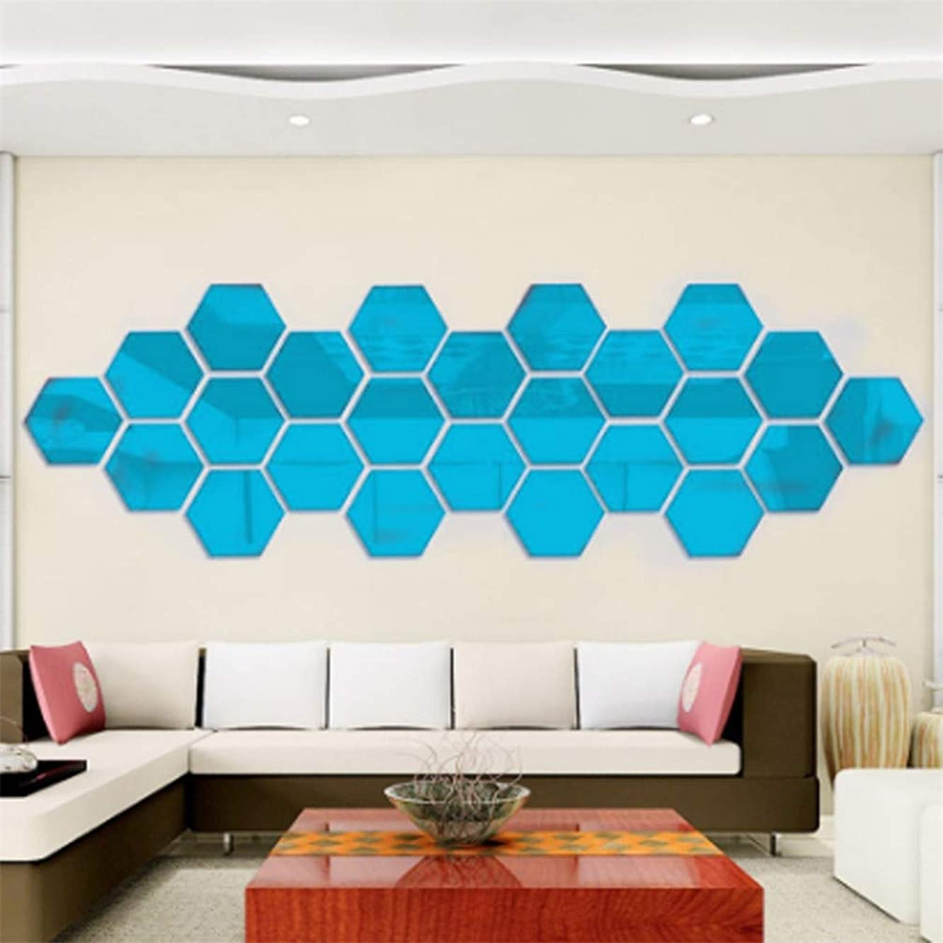 3D Hexagon Mirror Wall Stickers Decoration, 12 PCS Removable DIY Acrylic Wall Stickers Geometric Mirror Art, Self Adhesive Plastic Mirror Tiles Home Living Room Bedroom Wedding Room Office (Blue)