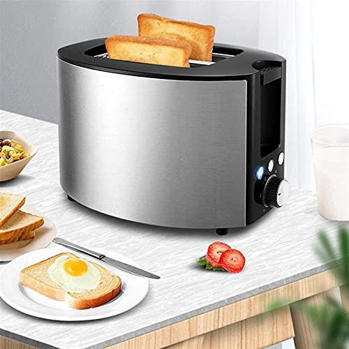 Stainless Steel Toasters,2 Slice Toaster,Defrost/Reheat/Cancel,Removable Crumb Tray,6 Browning Settings 750W