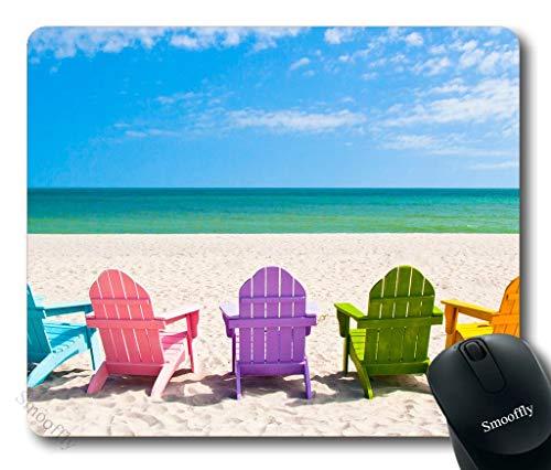 Gaming Mouse Pad Aangepast, Adirondack Beach Stoelen op een Sun Beach Vakantie Reizen Huis Mouse Pad