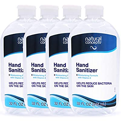 Natural Concepts Hand Sanitizer Gel, Value Pack of 4, 32 oz Bottles, 65% Ethyl Alcohol with Vitamin E, Protects Against Germs On-The-Go, Made in USA & Canada