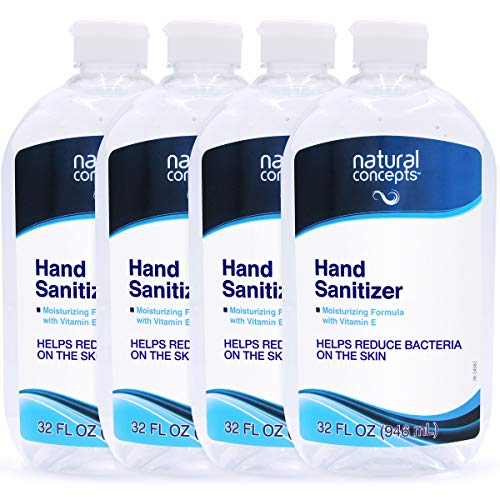 32-oz Bottle, 4-Pack (128oz Bulk Pack), Made in Canada, with Vitamin E, 65% Ethyl Alcohol, Hand Sanitizer Gel by Natural Concepts