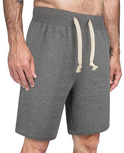 ThEast Pantalones cortos deportivos de algodón para hombre, pantalones cortos de pijama, pantalones cortos de entrenamiento para gimnasio - gris - X-Large