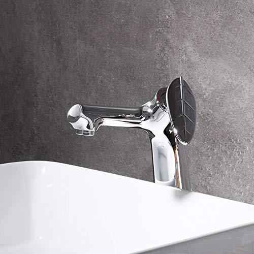 Moderne Waschbecken Wasserhahn Oberfläche poliert Einhebel, aus massivem Messing Blatt-Form Design-Griff, Kalt- und Warmwasseranschluss Vorhanden für Garderobe Washroom