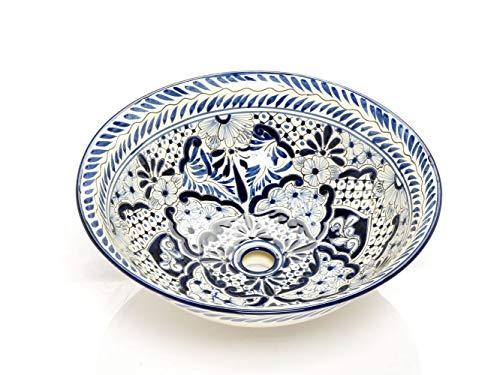 Salvadora - Mexikanisches Waschbecken aus Keramik - Cerames | Waschschale 40,5 cm x 15 cm | Aufsatzwaschbecken aus Mexiko für Badezimmer, Gäste WC, Toiletten