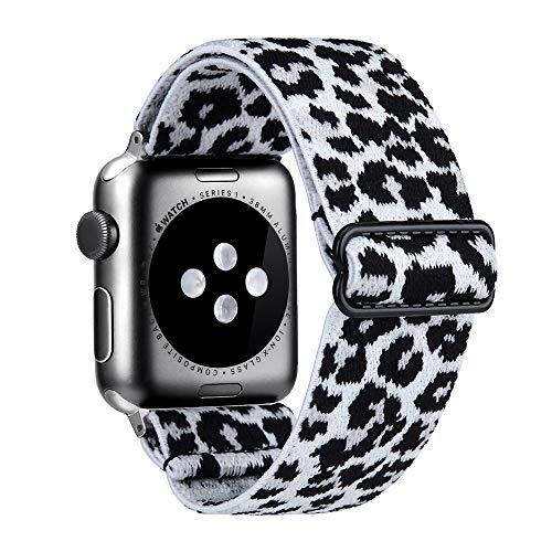 Elastic Watch Band Compatible With Apple Watch 38mm 40mm 42mm 44mm,Stretch Elastics Wristbelt Replacement Wristband For iWatch Series 6/5/4/3/2/1 (White Leopard, 42MM/44MM)