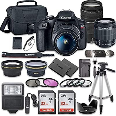 Canon EOS Rebel T7 DSLR Camera Bundle with Canon EF-S 18-55mm f/3.5-5.6 is II Lens + Canon EF 75-300mm f/4-5.6 III Lens + 2pc SanDisk 32GB Memory Cards + Accessory Kit (Renewed) by Canon