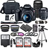 Canon EOS Rebel T7 DSLR Camera Bundle with Canon EF-S 18-55mm f/3.5-5.6 is II Lens + Canon EF 75-300mm f/4-5.6 III Lens + 2pc SanDisk 32GB Memory Cards + Accessory Kit (Renewed)