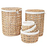 Artera Large Wicker Laundry Hamper - Set of 5 Woven Laundry Basket with Lid, Handles and Removable Cotton Liner for Bedroom, Bathroom, Laundry Room. (Style 1)