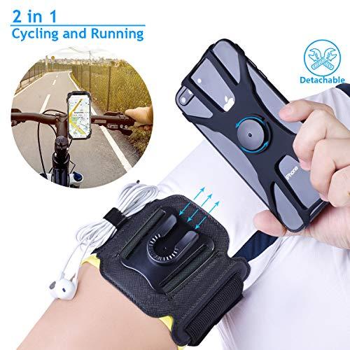 NaRuDo - Fascia da braccio 2 in 1 per telefono cellulare da corsa, staccabile con supporto in silicone, girevole a 360°, supporto universale per telefono cellulare per escursionismo in bicicletta