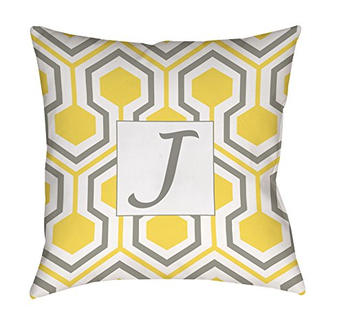 Manual Woodworkers & Weavers Square Throw Pillow, 26-Inch, Monogrammed Letter J, Yellow Honeycomb