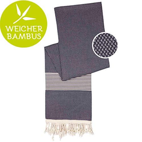 Happy Towels Hamamtuch (Grau) - 210 cm x 95 cm - 60% Bambus und 40% Bio-Baumwolle