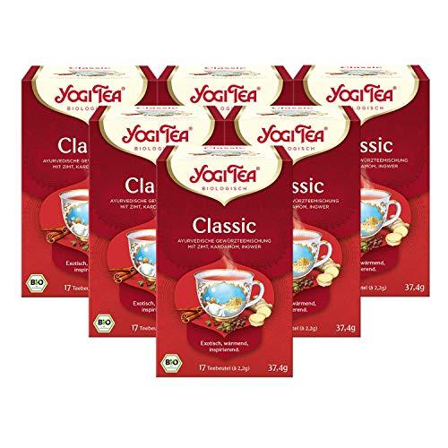 Yogi Tea 6x Classic Chai Bio Yogi Tee I exotisch-würzige ayurvedische Gewürz-Tee-Mischung I Bio-Qualität - 6x 17 Tee-Beutel I Kräuter-Tee 6 Päckchen