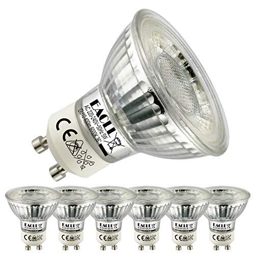 EACLL GU10 LED 5W 6000K Kaltweiss Leuchtmittel 400 Lumen Birnen kann Ersetzen 50W Halogen. AC 230V Kein Strobe Strahler, Abstrahlwinkel 36° Reflektor Lampen, Kaltweiß Licht Spotleuchten, 6 Pack