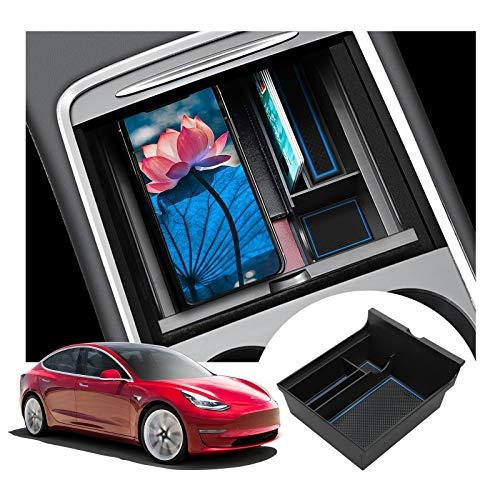 LFOTPP Caja de almacenamiento para consola central, modelo 3 Y 2021, reposabrazos, organizador de reposabrazos central, bandeja de accesorios (azul)