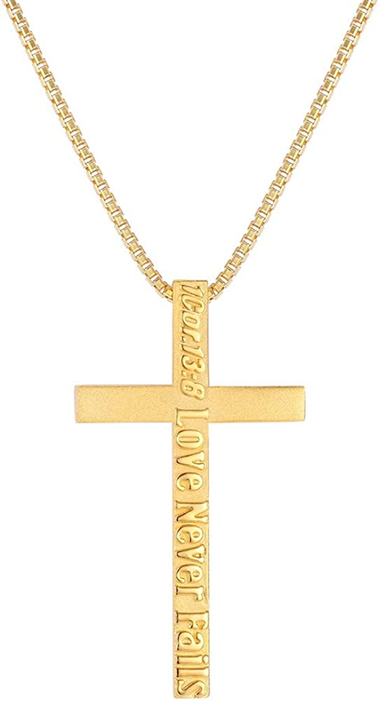 Hermolante 18K Gold Italian Box Chain Initial Necklaces For Unisex Adult Initial Cross Pendant