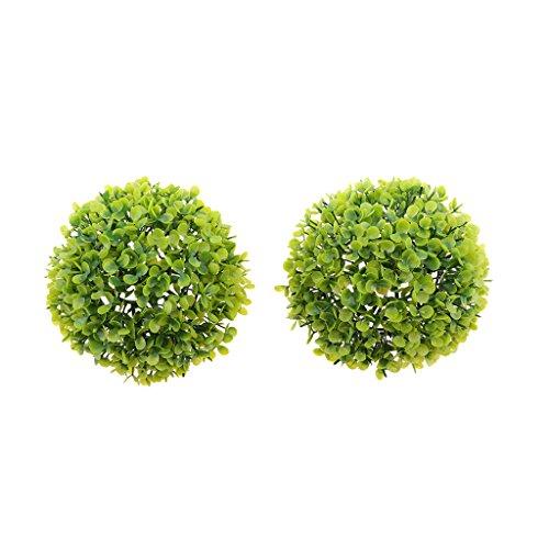 Fanmusic Verde Folhas Artificiais Planta Bola Relva Decoração Da Casa 17 Cm