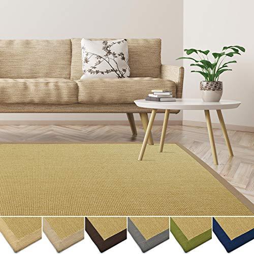 casa pura Sisal Teppich aus Naturfasern | mit Bordüre aus Baumwolle | pflegeleicht | viele Größen und Farben (Natur/Bordüre Creme, 160x230 cm)