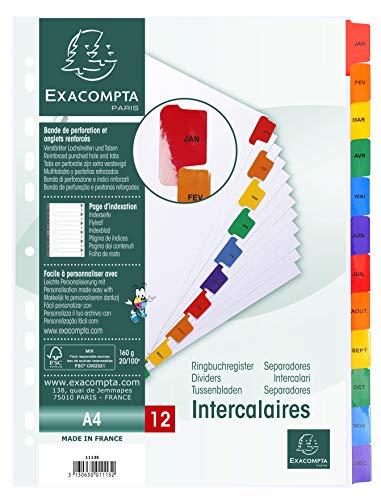 Exacompta 1113E Packung mit Register, Karton weiß 160g/m², Monate, für DIN A4, Indexseite, 1 Pack, farbig sortiert