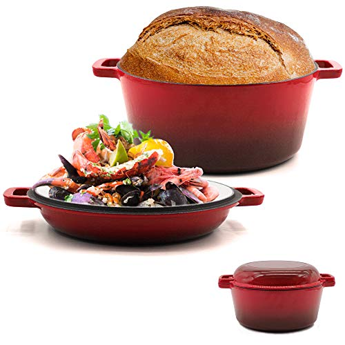2-in-1 Enameled Cast Iron Multi Cooker, 5.5-Quart Dutch Oven with 10.5 Inch Skillet Lid Set,Use as Dutch Oven and Frying Pan,Cherry
