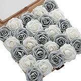 DerBlue - 60 rosas artificiales de aspecto real, rosas artificiales de espuma para ramos de boda, centros de mesa, arreglos para fiestas, baby shower decoración del hogar (plata brillante y gris)