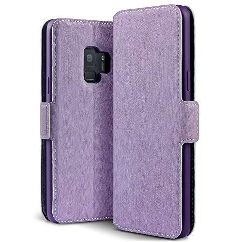 TERRAPIN, Kompatibel mit Samsung Galaxy S9 Hülle, Premium Leder Flip Handyhülle Samsung Galaxy S9 Tasche Schutzhülle - Lila