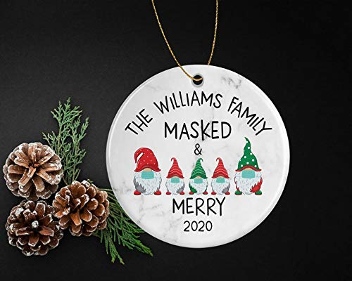 Decorations Masked and Merry Funny Christmas Ornament with Gnomes for Year 2020 - Personalized with Family Name - Unique Gift for Friends and Relatives Decorative Wall Art for Christmas and Holidays