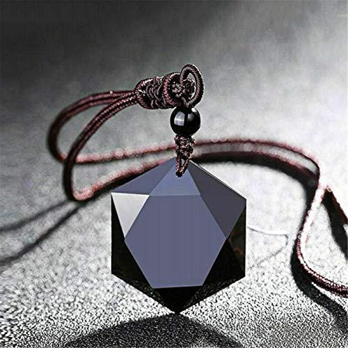 Sacred Hexagram Amulet, Tibetan Black Obsidian...