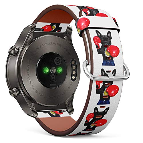 S-Type Quick Release Leather Bracelet Watch Band Strap Replacement Wristband Compatible for Huawei Watch 2 Classic - Funny Boxing French Bulldog
