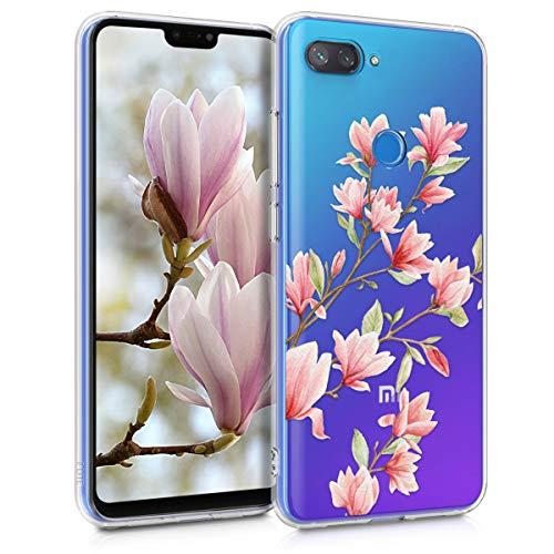 kwmobile Funda Compatible con Xiaomi Mi 8 Lite - Carcasa de TPU y Magnolias en Rosa Claro/Blanco/Transparente