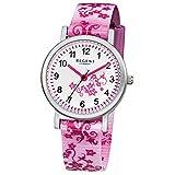Regent Kinder-Armbanduhr Elegant Analog Textil-Armband rosa pink weiß Quarz-Uhr Ziffernblatt weiß URF727