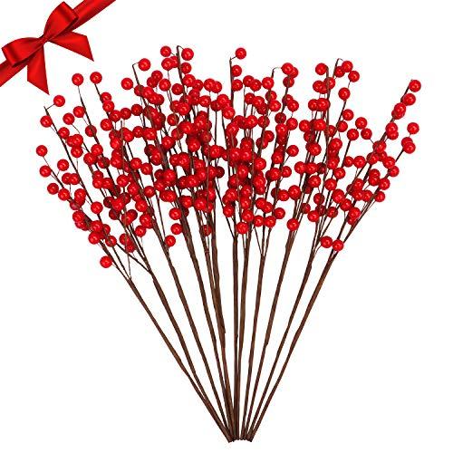 BELLE VOUS Decoraciones de Navidad Bayas Artificiales Rojas (Pack de 12) Bayas de Acebo 40 cm Adornos Navideños para Guirnalda de Navidad, Coronas, Manualidades, Bodas - Ramas de Bayas Flexibles