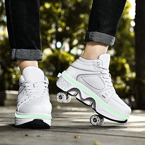 Zapatillas De Skate para Niñas 2 En 1, Zapatillas Deportivas Multiusos con Patín En Línea LED para Cumpleaños,White High Top-33