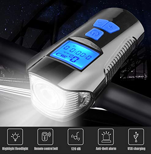 HUA JIE Luz De Bicicleta En Frente,Luces De Bicicleta Recargables USB,Accesorios De MTB,350 Lumens,Altavoz De 120 Db,diseño De Cambio Rápido,un Regalo para Las Personas Que Viajan De Noche