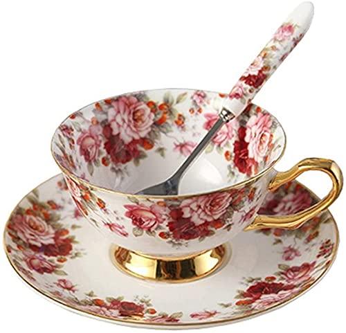 ZJZ Taza de té Estilo Europeo y Juego de platillo Art Bone China Taza de café de té de cerámica para la Cocina casera Boda, pequeña