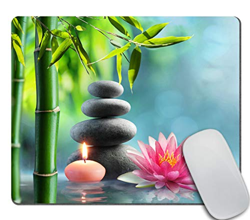 Amcove Spa Mouse Pad, Natural Alternative Therapy with Massage Stones and Waterlily in Water Rectangle Non-Slip Rubber Mousepad