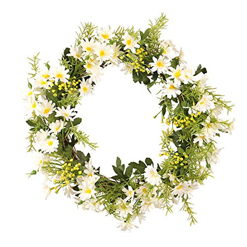 TREA2SURE Artificial Daisy Wreath, 13.8 Inch Floral Wreath Front Door Decor Faux Floral Wreath Hanging Garland with Eucalyptus Leaves Spring and Summerr Wreath for Easter Home Decoration