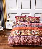 Lanqinglv Bettwäsche 155x220 cm Bohemian Wendebettwäsche Set Indischen Mandala Böhmisch Mikrofaser Blumenmuster Vintage Rot Bettbezug Deckenbezug mit Reißverschluss und Kissenbezug 80x80cm