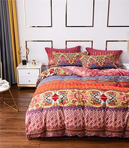 Lanqinglv Bohemian Bettwäsche 135x200 cm Boho Indischen Mandala Böhmisch Bettwäsche Set Mikrofaser mit Reißverschluss Vintage Blumenmuster Bettbezug und 1 Kissenbezug 80x80cm
