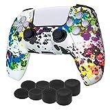 Newseego Compatibile con Cover Skin Controller PS5 in Silicone Antiscivolo,1 Cover Controller PS5 (Graffiti) + 2 Gommini per Le Levette Analogiche per Playstation 5 Joystick