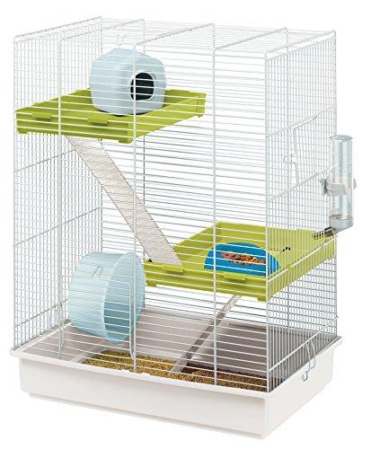 Ferplast 57018411W1 Nagerheim Hamster Tris, Komplettausstattung, Maße: 46 x 29 x 58 cm, weiß mit weißer Unterschale