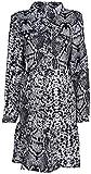 styleBREAKER Minivestido de Mujer de Manga Larga con Motivo Estampado de Serpiente, Cuello de Blusa y Tapeta de Botones, Volantes, túnica, Vestido 08010061, tamaño:XL, Color:Gris-Negro-Blanco